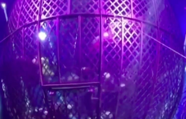 Acto de motocicletas en circo, termina mal, luego de estar en un peligroso globo
