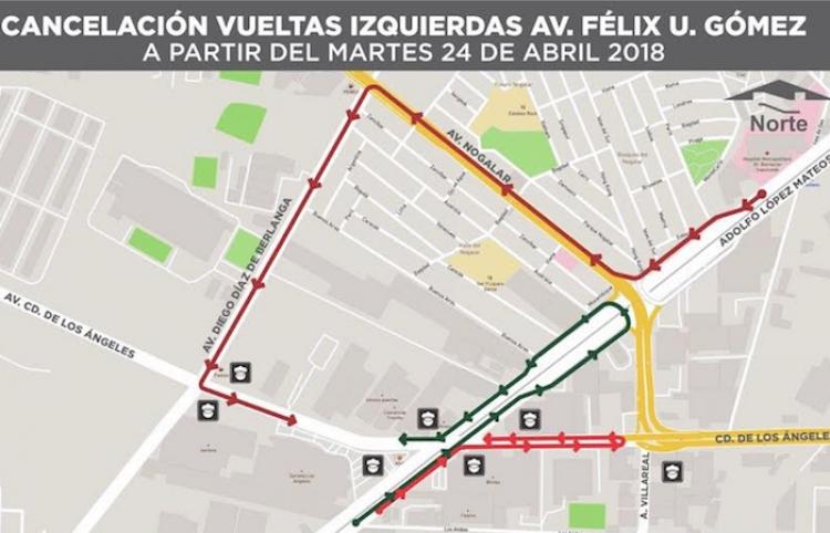 Cancelarán vueltas a la izquierda en Félix U. Gómez y Los Ángeles
