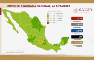 Van mil 378 casos de COVID-19 y 37 defunciones en México