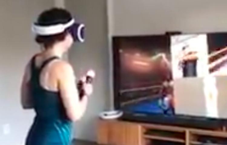 La realidad virtual no es para todos, así reacciona chica al jugar un round de box