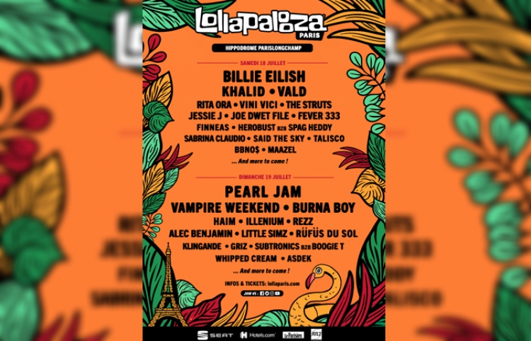 Pearl Jam y Billie Eilish encabezarán el Lollapalooza París 2020