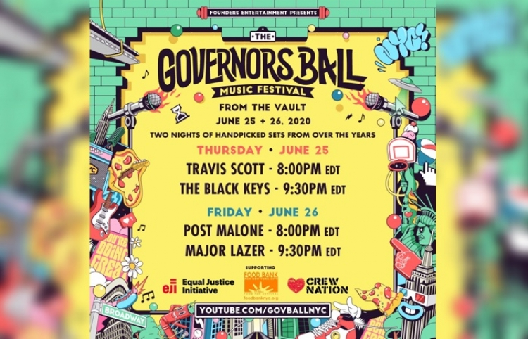Travis Scott, Post Malone, The Black Keys y Major Lazer en el ''From The Vault'' series del Governors Ball